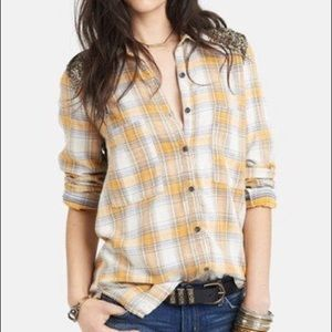 Free People Sequin Back Plaid Button Down Flannel